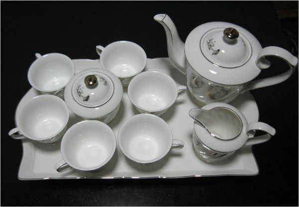 Golden Porcelain Coffee Set with Tray